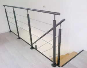 escalier 1 4 tourant gris garde corps verre metal mecametal. Black Bedroom Furniture Sets. Home Design Ideas