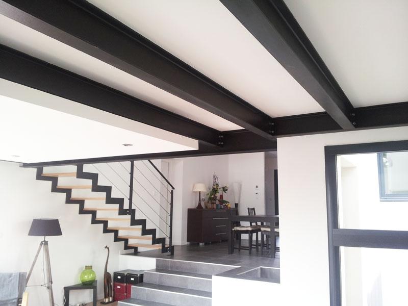 escalier double limon crémaillere en métal garde-corps décoratif métal pour mezzanine