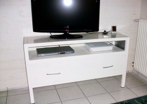 Meuble TV métallique style indus blanc Vendée Pays de la Loire