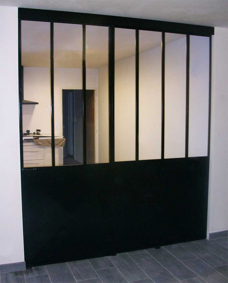 Verri re en m tal fixe et porte coulissante vend e escaliers for Porte coulissante metal avignon