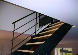 escalier metal sur-mesure 2/4 tournant double limon fabrication Vendée 85