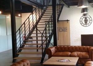 escalier metal loft droit double limon finition laquee noir mat Vendée Escaliers