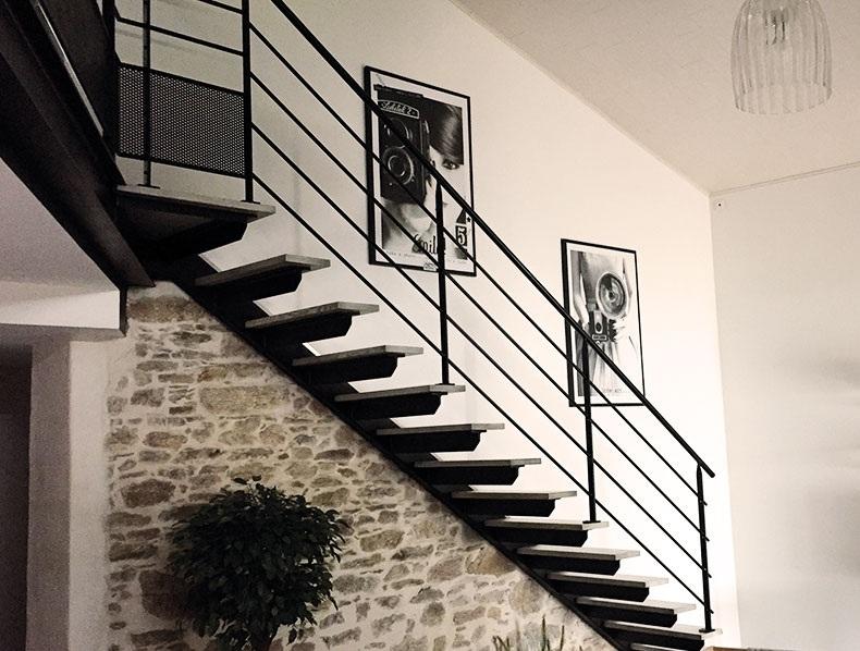 Escalier en métal et bois tendance